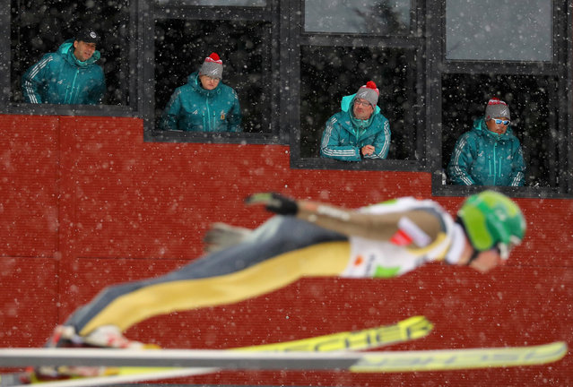 Judges watch Hannu Manninen of Finland in action at the 2017 FIS Nordic World Ski Championships in Lahti, Finland, on February 26, 2017. (Photo by Kai Pfaffenbach/Reuters)