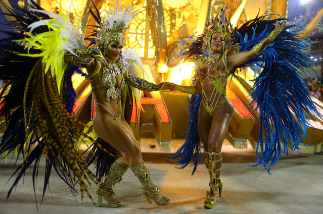 Revellers from Uniao da Ilha samba school perform during the second night of the carnival parade at the Sambadrome in Rio de Janeiro, Brazil February 27, 2017. (Photo by Pilar Olivares/Reuters)