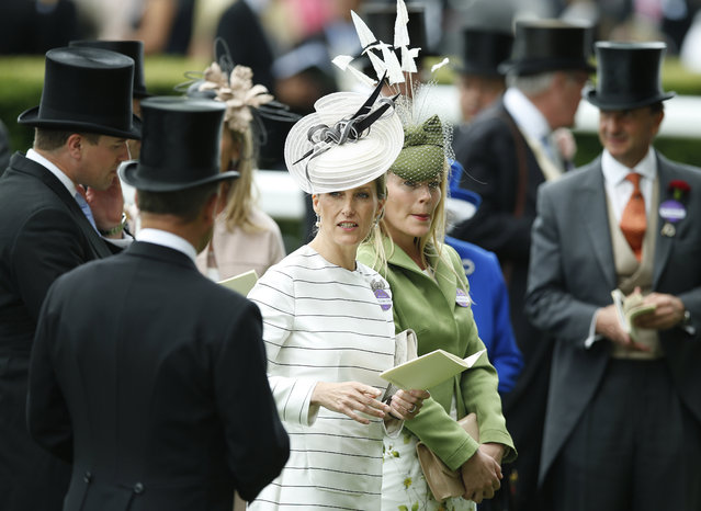 Sophie, Countess of Wessex, center, attends the second day of the Royal Ascot horse racing meet at Ascot, England, Wednesday, June 17, 2015. Royal Ascot is the annual five day horse race meeting that Britain's Queen Elizabeth II attends every day of the event. (AP Photo/Alastair Grant)