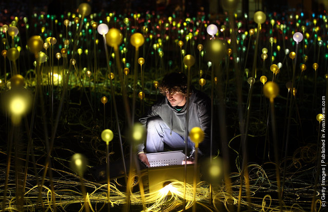 Bruce Munro's latest installation 'Field of Light' in the grounds of the Holbourne Musuem in Bath, England