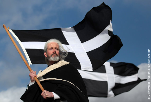 ocal actor Colin Retallick plays the role of St Piran during the annual processional play to celebrate St Piran, patron saint of tinners and regarded by many as Cornwall's premier saint