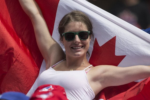 A fan waves a Canadian flag as the crowd celebrates Canada Day during interleague baseball action between the Toronto Blue Jays and Milwaukee Brewers in Toronto on Tuesday July 1, 2014. (Photo by Chris Young/The Canadian Press)