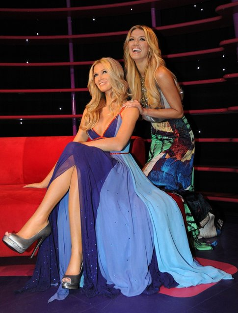Australian singer/songwriter Delta Goodrem comes face-to-face for the first time with a wax figure of herself at Madame Tussauds in Sydney
