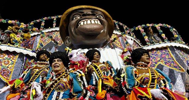 The Portela samba school parades during celebrations at the Sambadrome in Rio de Janeiro
