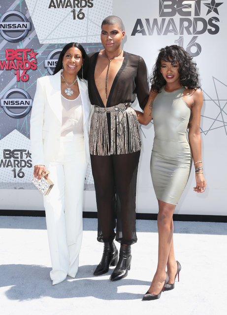 (L-R) Cookie Johnson, EJ Johnson and Elisa Johnson attend the 2016 BET Awards at the Microsoft Theater on June 26, 2016 in Los Angeles, California. (Photo by Frederick M. Brown/Getty Images)
