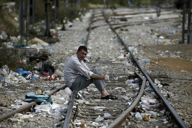A Syrian refugee sits on a stretch of train tracks where thousands of refugees and migrants crossed Greece's border with Macedonia, near the Greek village of Idomeni, September 7, 2015. (Photo by Yannis Behrakis/Reuters)
