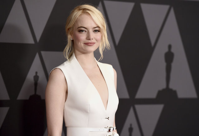 Emma Stone arrives at the 9th annual Governors Awards at the Dolby Ballroom on Saturday, November 11, 2017, in Los Angeles. (Photo by Jordan Strauss/Invision/AP Photo)