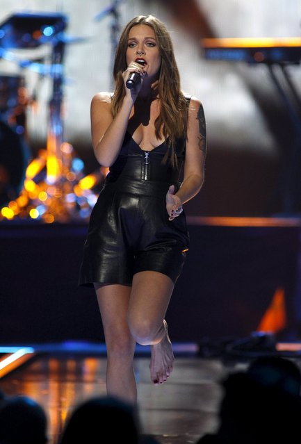 Swedish singer/songwriter Tove Lo performs during the second night of the 2015 iHeartRadio Music Festival at the MGM Grand Garden Arena in Las Vegas, Nevada September 19, 2015. (Photo by Steve Marcus/Reuters)