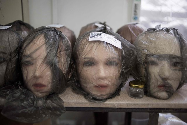 This photo taken on February 1, 2018 shows non- robotic silicone doll heads at a doll factory of EXDOLL, a firm based in the northeastern Chinese port city of Dalian. (Photo by Fred Dufour/AFP Photo)