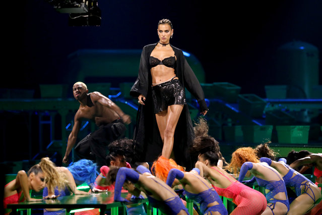 In this image released on October 1, Irina Shayk is seen onstage during Rihanna's Savage X Fenty Show Vol. 2 presented by Amazon Prime Video at the Los Angeles Convention Center in Los Angeles, California; and broadcast on October 2, 2020. (Photo by Jerritt Clark/Getty Images for Savage X Fenty Show Vol. 2 Presented by Amazon Prime Video)