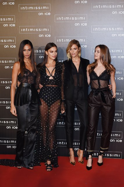 Joan Smalls, Irina Shayk, Anja Rubik and Barbara Palvin attend the Intimissimi On Ice event held in Verona, Italy on October 07, 2016. Intimissimi, a luxury lingerie brand, hosted the fashion show which included a performance by legendary classical singer Andrea Bocelli. (Photo by FameFlynet UK)