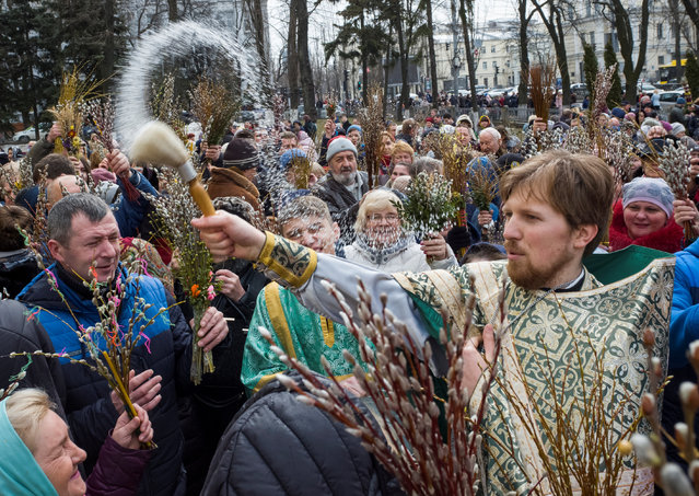 An Orthodox priest sprays holy water as believers mark Palm Sunday in Kiev, Ukraine April 1, 2018. (Photo by Gleb Garanich/Reuters)