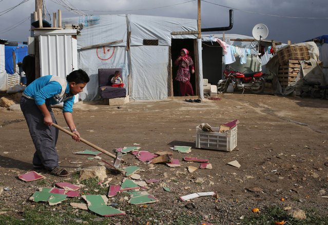 A Syrian boy chops scrap wood outside of his tent in preparation for the possibility of a snow storm at a refugee camp in Deir Zannoun village, Bekaa valley, Lebanon, Tuesday, January 6, 2015. (Photo by Hussein Malla/AP Photo)