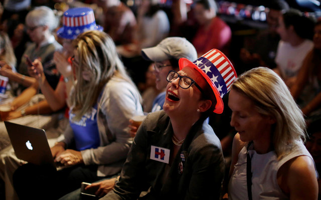 Supporters of U.S Democratic Presidential candidate Hillary Clinton react as a state is called in favour of her opponent, Republican candidate Donald Trump, during a watch party for the U.S. Presidential election, at the University of Sydney in Australia, November 9, 2016. (Photo by Jason Reed/Reuters)