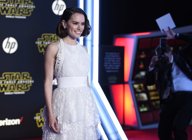 "Daisy Ridley arrives at the world premiere of ""Star Wars: The Force Awakens"" at the TCL Chinese Theatre on Monday, December 14, 2015, in Los Angeles. Ridley plays the role of Rey in the film. (Photo by Jordan Strauss/Invision/AP Photo)"