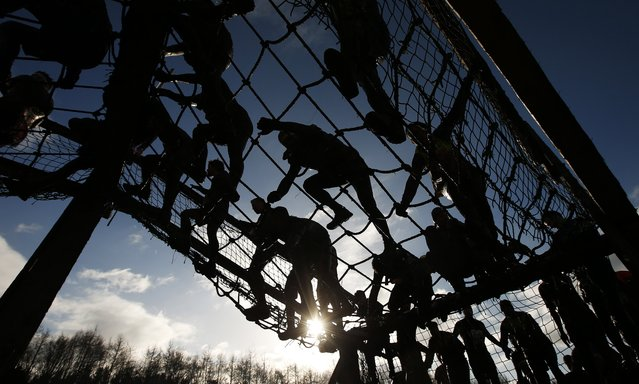 Competitors cross a cargo net during the Tough Guy event in Perton, central England, February 1, 2015. (Photo by Phil Noble/Reuters)