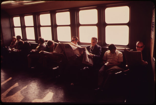 Commuters on the Staten Island Ferry in New York Harbor's Upper Bay, in May of 1973. (Photo by Wil Blanche/NARA via The Atlantic)