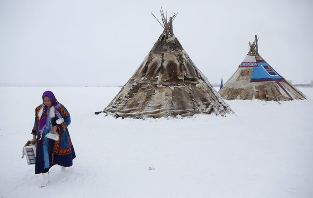 In this photo taken on Sunday, March 15, 2015, a Nenets woman walks by chums at the Reindeer Herder's Day in the city of Nadym, in Yamal-Nenets Region, 2500 kilometers (about 1553 miles) northeast of Moscow, Russia. (Photo by Dmitry Lovetsky/AP Photo)