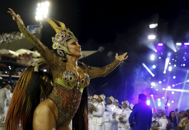 Portela samba school's Drum Queen Patricia Nery performs during the carnival parade at the Sambadrome in Rio de Janeiro, February 9, 2016. (Photo by Pilar Olivares/Reuters)