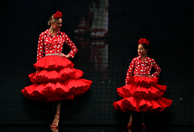 Models present creations by Ana Moron during the International Flamenco Fashion Show SIMOF in the Andalusian capital of Seville, Spain February 8, 2019. (Photo by Marcelo del Pozo/Reuters)
