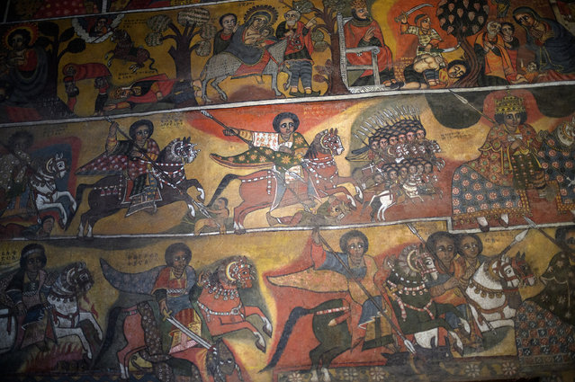 Battle scenes are depicted on the wall of Debre Birhan Selassie Church ahead of the annual Timkat celebration, on January 17, 2017 in Gondar, Ethiopia. (Photo by Carl Court/Getty Images)