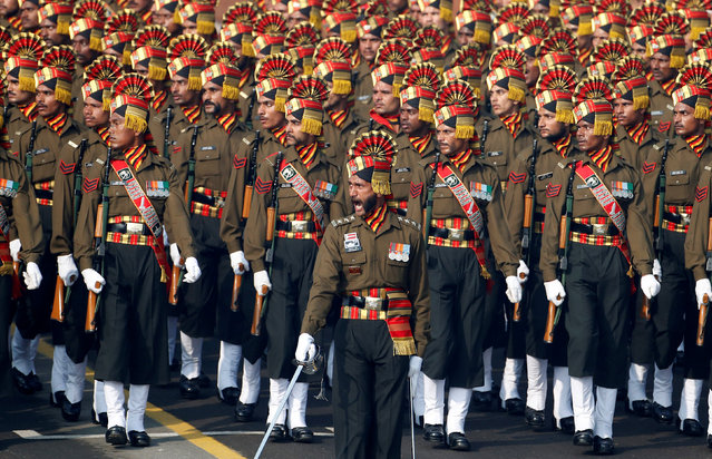 Soldiers take part in a rehearsal for India's Republic Day parade in New Delhi, India January 23, 2017. (Photo by Cathal McNaughton/Reuters)
