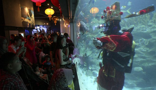 A diver dressed as God of Prosperity gestures to visitors on the first day of Chinese New Year celebrations at Aquaria KLCC underwater park in Kuala Lumpur, Malaysia, Friday, January 31, 2014. (Photo by Daniel Chan/AP Photo)