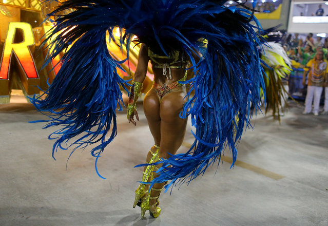 A reveller from Uniao da Ilha samba school performs during the second night of the carnival parade at the Sambadrome in Rio de Janeiro, Brazil February 27, 2017. (Photo by Pilar Olivares/Reuters)