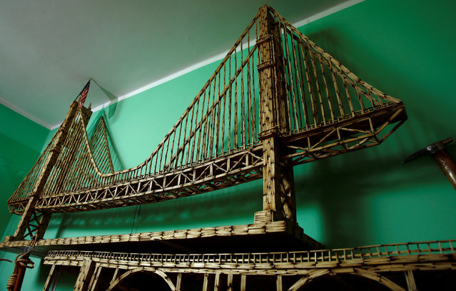 A replica of Golden Gate Bridge made from matchsticks by Janusz Urbanski is pictured at his flat in Ruda Slaska, Poland May 4, 2016. (Photo by Kacper Pempel/Reuters)