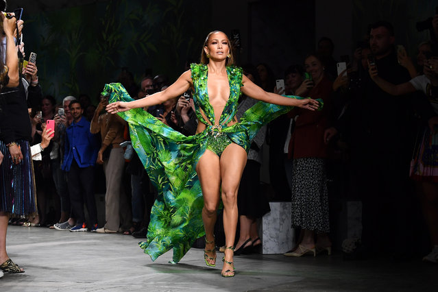 Jennifer Lopez walks the runway at the Versace show during the Milan Fashion Week Spring/Summer 2020 on September 20, 2019 in Milan, Italy. (Photo by Jacopo Raule/Getty Images)