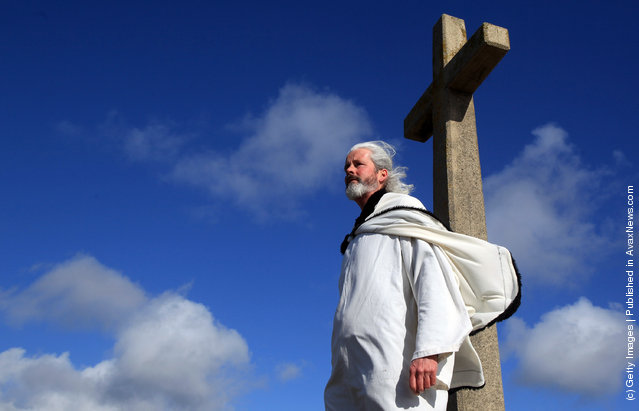 Local actor Colin Retallick plays the role of St Piran during the annual processional play to celebrate St Piran, patron saint of tinners and regarded by many as Cornwall's premier saint
