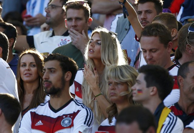 Model Sarah Brandner, girlfriend of Germany's Bastian Schweinsteiger, waits for the 2014 World Cup final between Germany and Argentina at the Maracana stadium in Rio de Janeiro July 13, 2014. (Photo by Michael Dalder/Reuters)