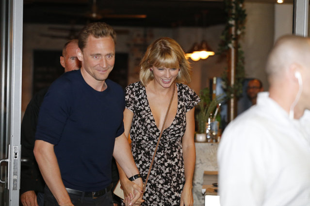 """Actor Tom Hiddleston and singer Taylor Swift leave restaurant """"Gemelli Italian"""" in Broadbeach on the Gold Coast, Queensland. (Photo by Jerad Williams/Newspix/Getty Images)"""