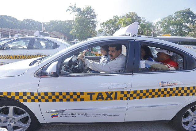 Venezuela's President Nicolas Maduro (C) drives a taxi during a ceremony where subsidized taxis are distributed to beneficiaries in Caracas, August 29, 2015 in this handout photo provided by Miraflores Palace. (Photo by Miraflores Palace/Reuters)