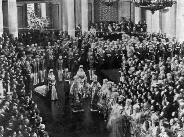Tsar Nicholas II (1868–1918) opening the Duma, the lower house of Russian parliament, circa 1916.