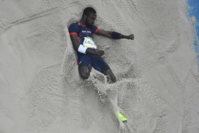 France's Kafetien Gomis competes in the Men's Long Jump Qualifying Round during the athletics event at the Rio 2016 Olympic Games at the Olympic Stadium in Rio de Janeiro on August 12, 2016. (Photo by Antonin Thuillier/AFP Photo)