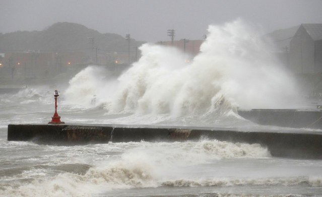 Waves hit the seaside in Chosi, Chiba Prefecture, Japan, in this photo taken by Kyodo August 22, 2016. (Photo by Reuters/Kyodo News)