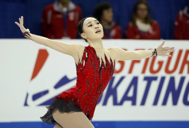Park So-youn of South Korea performs during the Ladies' free skate program at the Skate America figure skating competition in Milwaukee, Wisconsin October 24,2015. (Photo by Lucy Nicholson/Reuters)