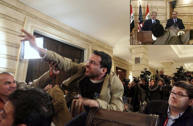 "An Iraqi man throws a shoe at President George W. Bush (seen ducking the shoe in inset image) during a news conference with Iraq Prime Minister Nouri al-Maliki on December 14, 2008, in Baghdad. Muntadhar al-Zaidi, an Iraqi broadcast journalist threw two shoes at Bush, one after another, during the news conference. Bush ducked both throws. As he threw the shoes, al-Zaidi reportedly shouted ""This is a farewell kiss from the Iraqi people, you dog"", and ""This is for the widows and orphans and all those killed in Iraq"". Muntadhar al-Zaidi was dragged away by security, arrested, and spent nine months in prison for the incident. (Photo by Evan Vucci/AP Photo/Inset/APTN/The Atlantic)"