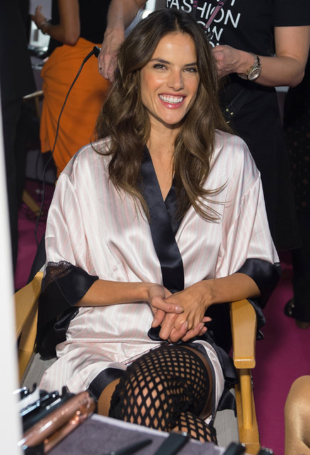 Model Alessandra Ambrosio backstage at the annual Victoria's Secret fashion show at Earls Court on December 2, 2014 in London, England. (Photo by Michael Stewart/FilmMagic)