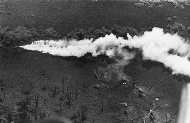 American helicopters in action against the Vietcong, 1968. (Photo by Terry Fincher/Daily Express/Hulton Archive/Getty Images)