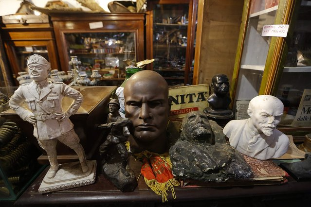 Political memorabilia is displayed in the Museum of Domenico Agostinelli in Dragona, near Rome October 30, 2014. (Photo by Tony Gentile/Reuters)