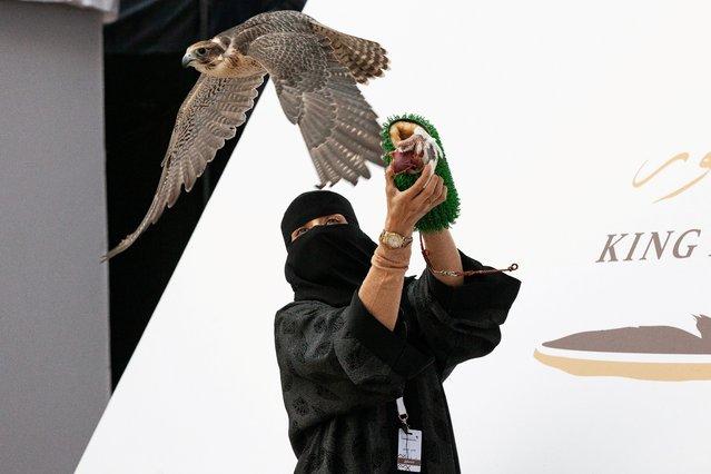 Athari Alkhaldi, the first Saudi woman to qualify and participate in the King Abdulaziz Falconry Festival, holds a falcon during the show in Riyadh, Saudi Arabia on December 6, 2020. (Photo by King Abdulaziz Falconry Media Center via Reuters)