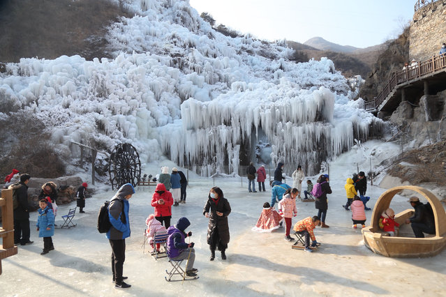 Incredible frozen waterfalls in Shenquanxia scenic area in Mentougou District of Beijing, China, 26 December 2020. (Photo by Rex Features/Shutterstock)