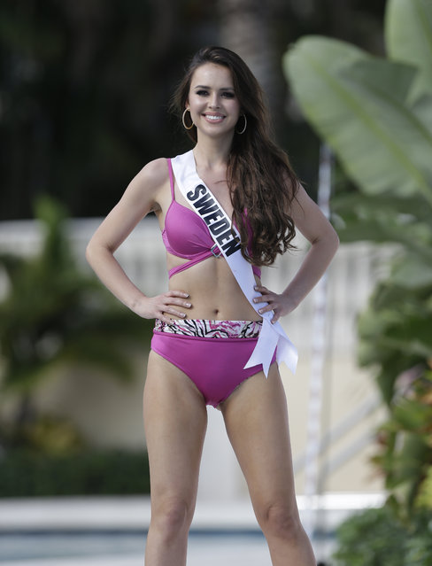 Miss Universe contestant Camilla Hansson, of Sweden, walks along the pool during the  Yamamay swimsuit runway show, Wednesday, January 14, 2015, in Doral, Fla. (Photo by Lynne Sladky/AP Photo)