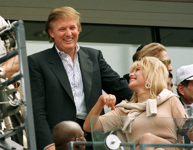 Developer Donald Trump talks with his former wife Ivana Trump during the men's final at the U.S. Open September 7, 1997. (Photo by Reuters)