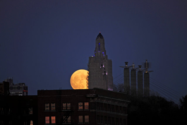 """The """"supermoon"""", the closest the moon comes to Earth since 1948, rises over the Power and Light building in downtown Kansas City, Missouri, U.S., November 13, 2016. (Photo by Dave Kaup/Reuters)"""
