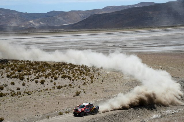 Leeroy Poulter of South Africa drives his Toyota during the sixth stage in the Dakar Rally 2016 near Uyuni, Bolivia, January 8, 2016. (Photo by Jerome Prevost-L'Equipe/Reuters)