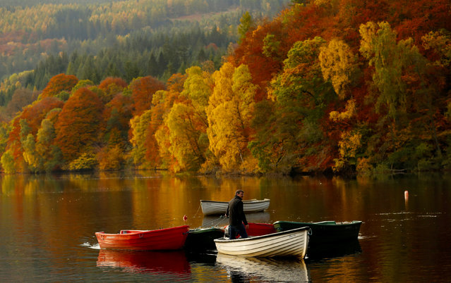A man stands on a boat as autumn foliage is reflected off Loch Faskally, in Perthshire, Scotland, Britain, October 19, 2018. (Photo by Russell Cheyne/Reuters)