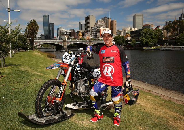 Australian FMX rider Robbie Maddison poses after riding his motorbike along the surface of the Yarra River on December 22, 2016 in Melbourne, Australia. (Photo by Scott Barbour/Getty Images for Paramount Pictures)
